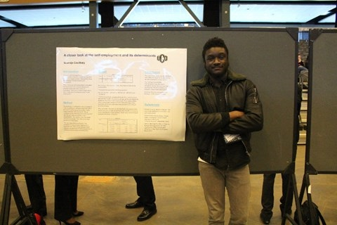 A student presenter showcases his project at ORD 2017 at the Central National Bank Center in Enid.