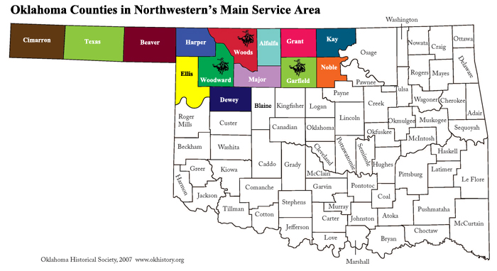 Oklahoma Counties in Northwestern's Main Service Area