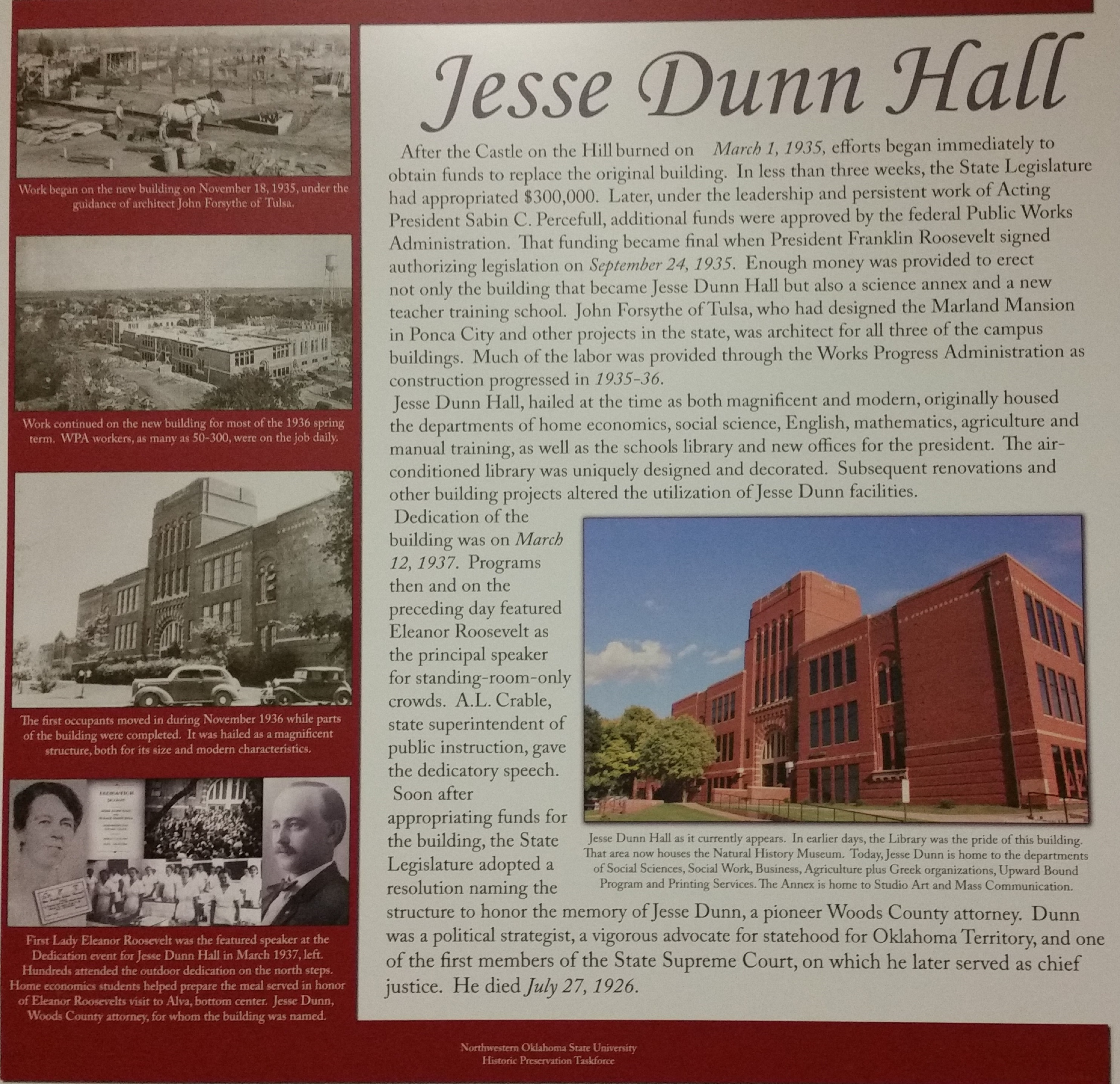 Poster explaining history of Jesse Dunn Hall