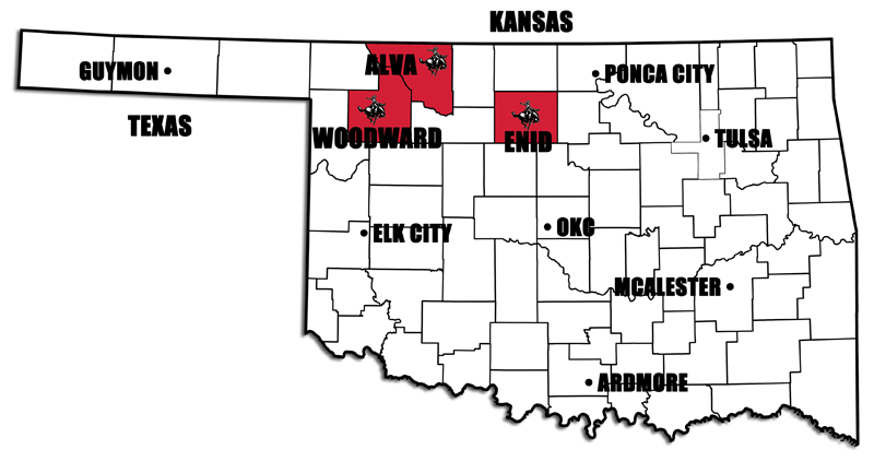 NWOSU locations on Oklahoma map