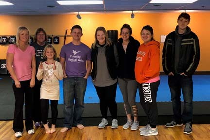 "Students from Northwestern Oklahoma State University's Enid campus participated in the Social Workers Association of Tomorrow (SWAT) ""Self-Defense Night"" at the Family Martial Arts in Enid to learn more about self-defense techniques."