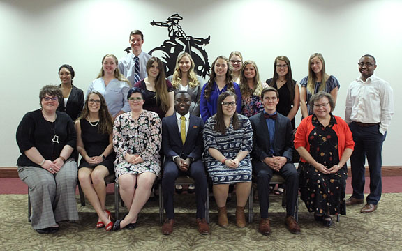 Northwestern Oklahoma State University inducted 23 new members into the Red and Black Scroll Honor Society April 1 during a ceremony in the Student Center Wyatt Room.