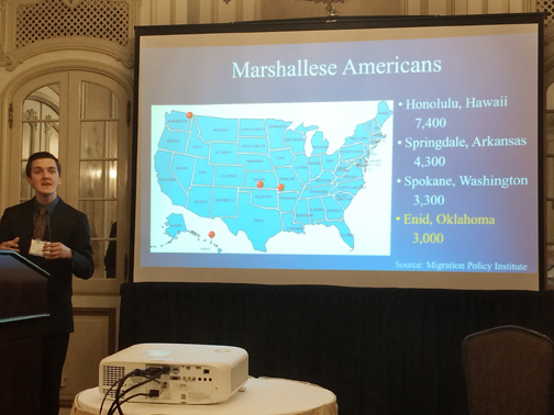 "Northwestern Oklahoma State University junior business student Ethan Sacket recently presented his research paper titled ""The Impact of Marshallese Migration on Northwest Oklahoma"" at the Midwest Business Administration Association International Conference in Chicago."