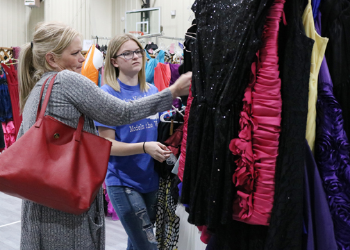 Alva High School freshman Erica Coday (right) and her mom Tricia look for the perfect dress at Primp for Prom.