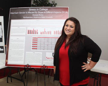 "Brandy Hinesley-Chambers of Shawnee, won first place in the History category of poster presentations and first place in the History category for research papers on her research project titled, ""The Greenwood Massacre.""  Shanely Russo of Cherokee, won first place in the Psychology category of poster presentations on her research topic, ""Stress in College: How Each Gender is Affected by Stress in Different Aspects of Life."""