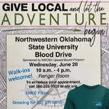Northwestern Oklahoma State University's Alva campus is partnering with the Oklahoma Blood Institute (OBI) to hold a blood drive from 10 a.m. to 4 p.m. on Wednesday, June 20, in the Student Center Ranger Room.